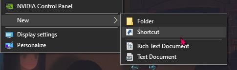 Desktop Context Menu